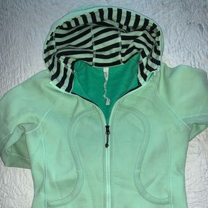 mint and black striped lululemon Scuba hoodie